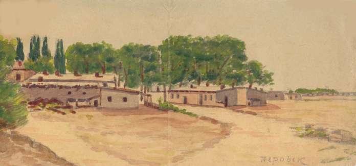 Перовськ, казарми. Акварель інж. Дмитра Кашубинського, 1915 р.
