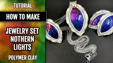 Paid Tutorial: Jewelry Set «Northern Light» using Crackle Surface