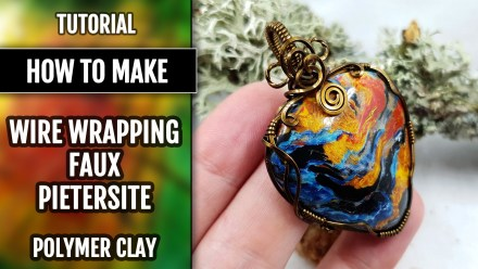 Wire Wrapped Faux Pietersite Stone cabochon from polymer clay