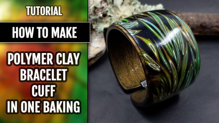 Polymer clay Bracelet cuff in one baking