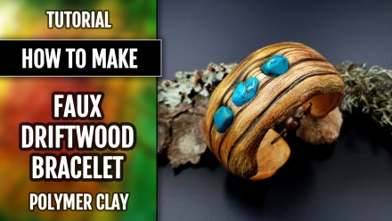 (10+) Video Tutorial: How to make Polymer Clay Faux Driftwood Bracelet Cuff with Turquoise stone