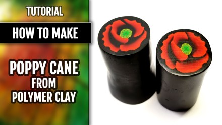 (15+) Video Tutorial: Polymer clay Black and Red Poppy cane