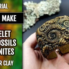 How to make Unique Polymer Clay Bracelet with Faux Fossil Ammonites in Rock – Wearable Art!