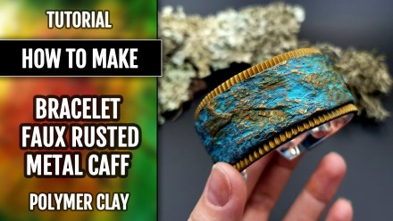 ($10+) Video tutorial: How to make Bracelet on metal base – Faux Rusted Metal Cuff or Faux Rock Cuff!