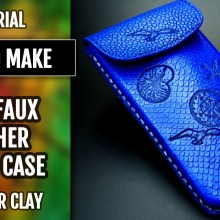 (35+) Video Tutorial: How to make Faux Leather Phone Case with Sea Motives from Polymer Clay Fimo Leather