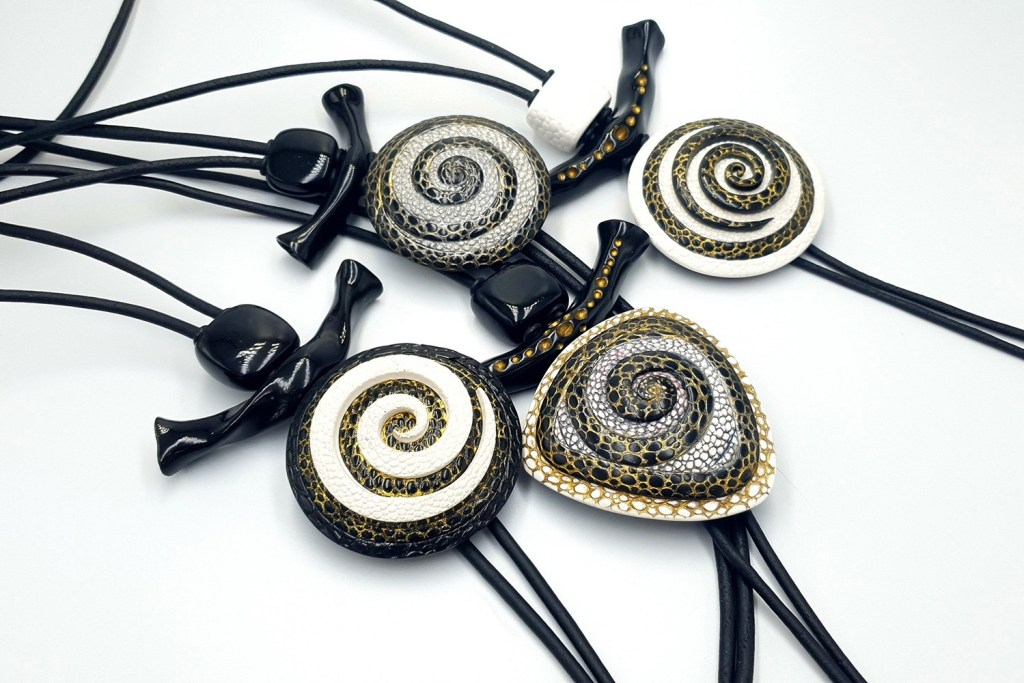 4 Amazing Yin-Yang Swirl Long Pendants made completely from polymer clay! 4