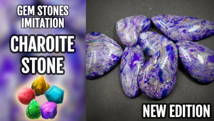 Patron $15+ Video Tutorial: Polymer clay Faux Charoite Stone imitation