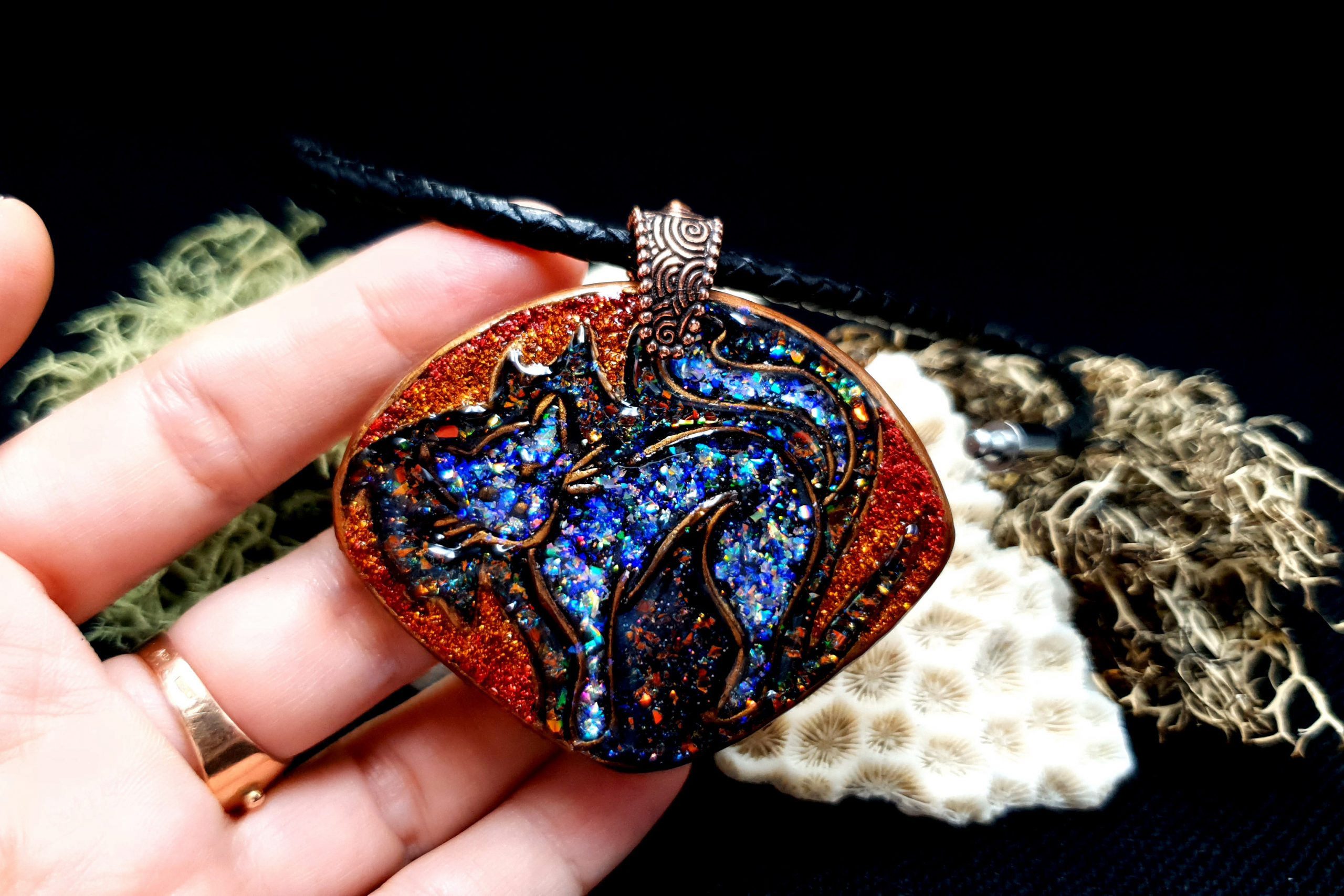 """Free video tutorial: How to make unique polymer clay Pendant """"Starry Night Cat"""" 6"""