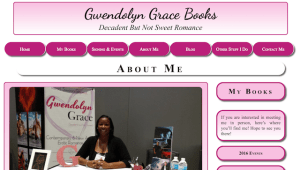 Screenshot of Gwendolyn Grace Books Home page