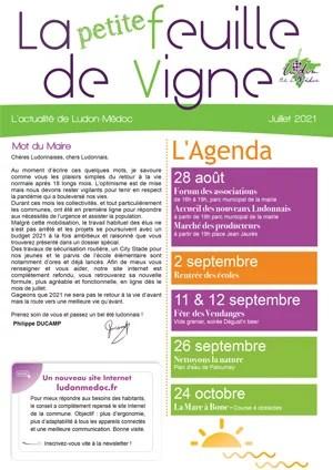 feuille de vigne 2021 07 - La Petite Feuille de vigne de juillet 2021 est en ligne !
