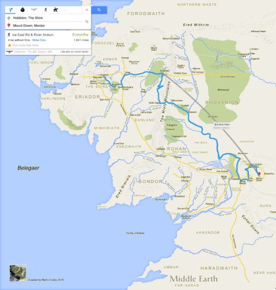 Mapa de la Tierra Media en formato Google Maps