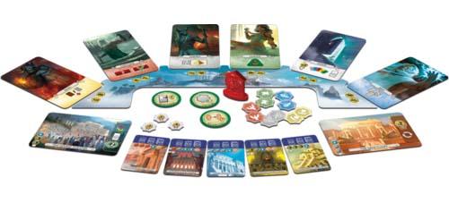 Componentes de Seven Wonders Duel Pantheon