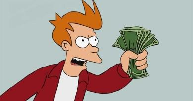 Fray de Futurama ofreciendo su dinero