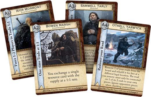 Cartas de héroe de A Game of Thrones Catan: Brotherhood of the Watch