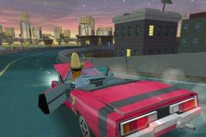 Apu, wearing his real American costume, drives Snake's Li'l Bandit car