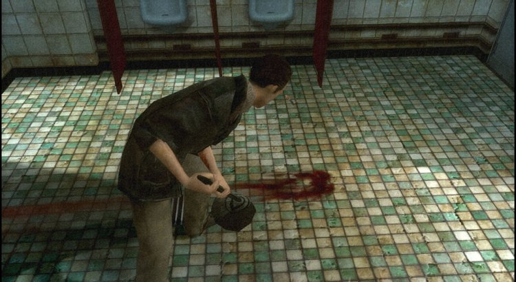 Lucas Kane hurriedly trying to clean up the scene of the crime in the bathroom of Sam's Diner, New York
