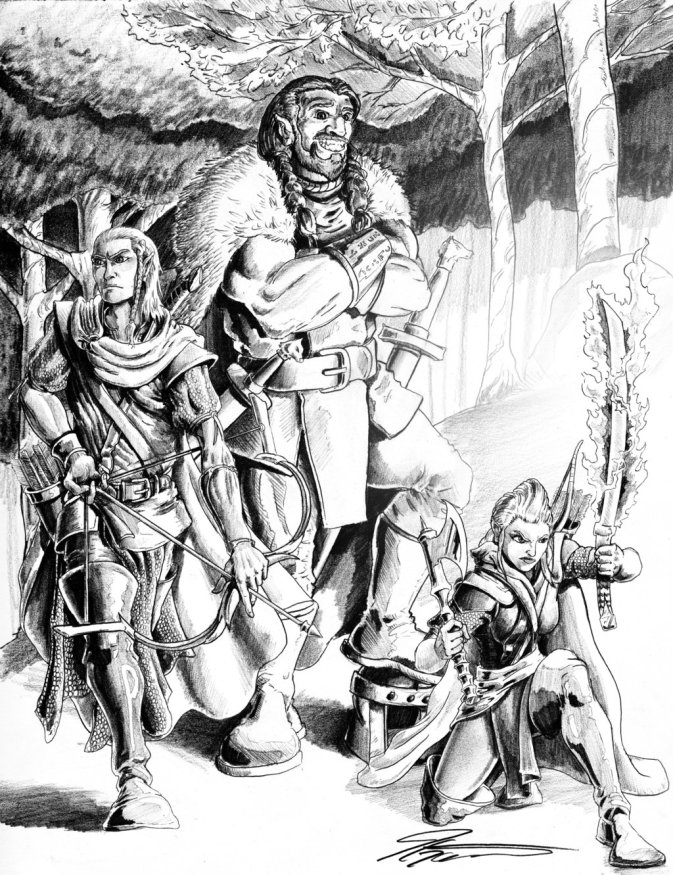Victor Lewis' D&D adventuring party. Used with permission by artist Joseph Garcia.
