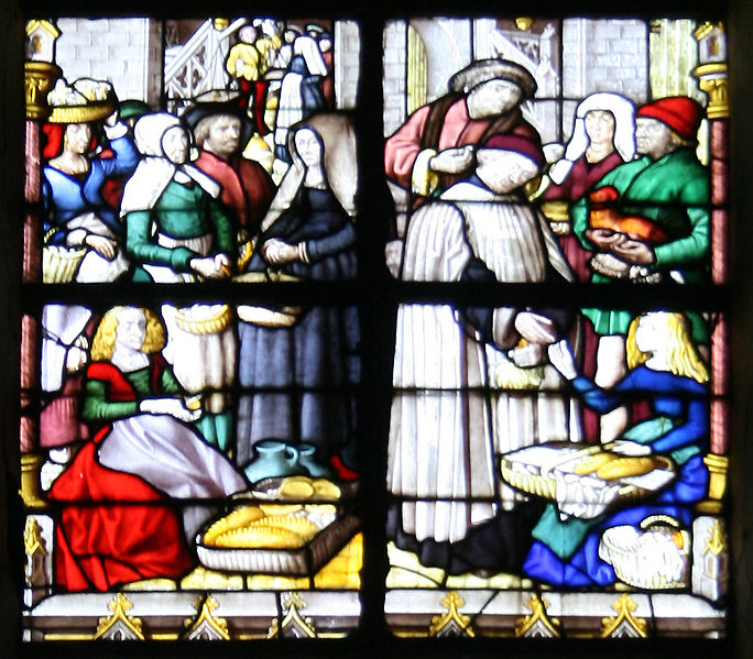Detail of window by Arnold of Nijmegen, 15th century, Tournai Cathedral, Belgium. The window is part of a series telling the history of the granting of taxation rights to the church. Image held by Jean-Pol Grandmont and used under Creative Commons License 3.0.