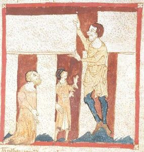 Image showing Merlin directing the building of Stonehenge by a giant. From the Roman de Brut by Wace, from the Manuscript Egerton 3028 in the British Library. This is a faithful photographic reproduction of a two-dimensional, public domain work of art.