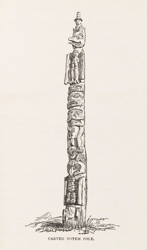 L0050845 Carved totem pole. Credit: Wellcome Library, London. Wellcome Images images@wellcome.ac.uk http://wellcomeimages.org Carved totem pole 1887 The story of Metlakahtla / Henry S. Wellcome Published: 1887. Copyrighted work available under Creative Commons Attribution only licence CC BY 4.0 http://creativecommons.org/licenses/by/4.0/