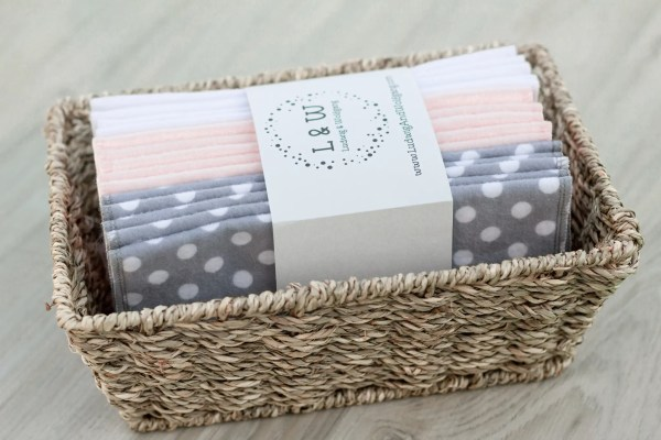 Basket of Wipes (5 ea. 2-Ply, Gray Polka Dot, Pink & White Flannel) 3