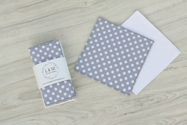 Bundle of Wipes (3 ea. White, Gray Polka Dot, 2-Ply Flannel) 2