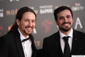 Politicians Pablo Iglesias and Alberto Garzon at photocall during the 30th annual Goya Film Awards in Madrid, on Saturday 6th February, 2016.