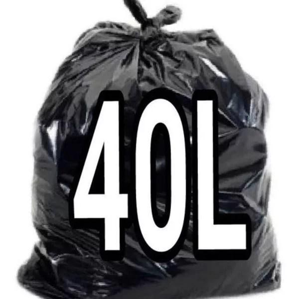 Saco de Lixo Preto 40 Litros - 100 Unidades - Lueri Clean