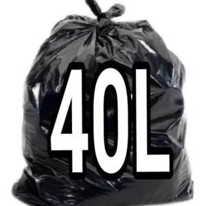 Saco de Lixo Preto 40 Litros – 100 Unidades – Lueri Clean