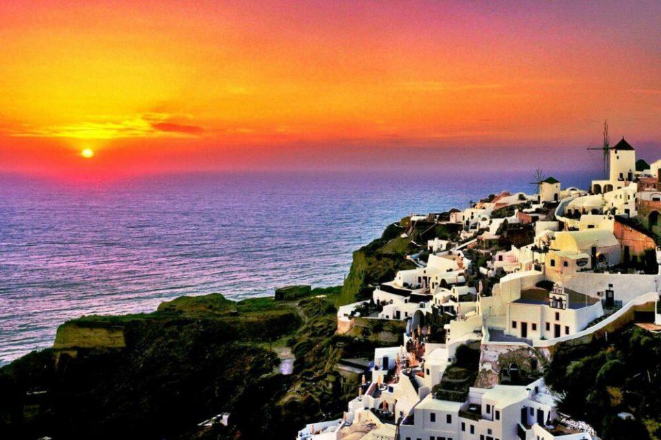 Atardecer en Oia, en Santorini