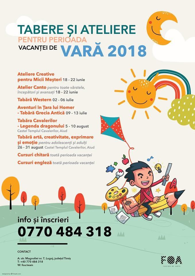 Lugoj Expres Tabere și ateliere FOA, în vacanța de vară 2018 vacanța de vară tabere Fusion of Arts FOA ateliere