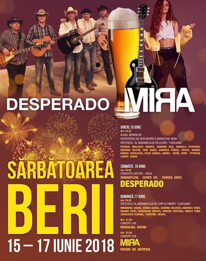 Lugoj Expres Sărbătoarea Berii, cu Desperado și Mira, la Lugoj spectacol folcloric sărbătoarea berii Mira Lugojana festival eveniment Desperado concerte artificii