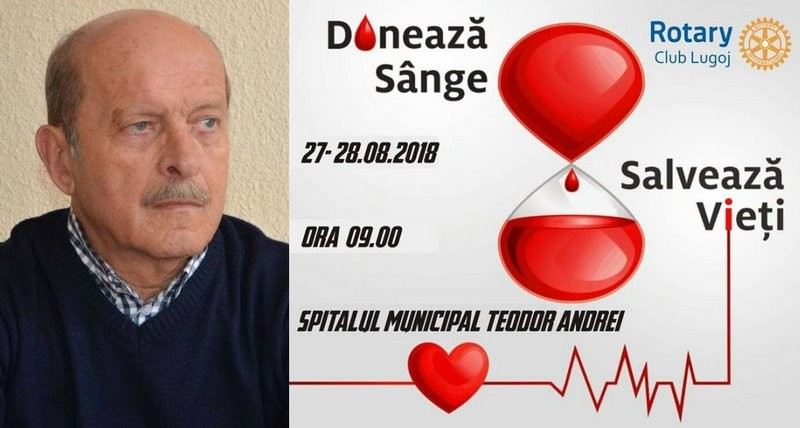 """Lugoj Expres Campania Rotary """"Donează sânge, salvează vieți!"""" continuă! Lugojenii pot să doneze sânge pentru fostul primar Marius Martinescu transfuzie spital salvează vieți Rotary Lugoj Rotary Marius Martinescu donare sânge campanie"""