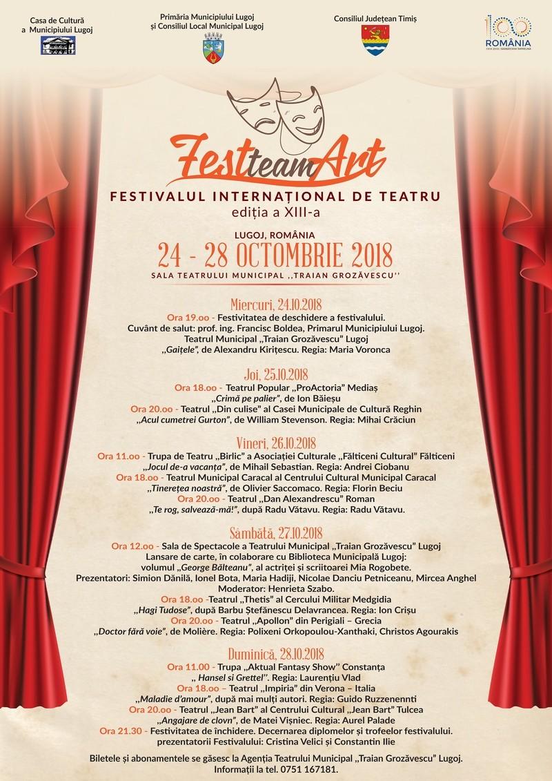 """Lugoj Expres Festivalul Internaţional de Teatru """"FestteamArt"""" - ediția a XIII-a trupe spectacole Sfinxul Banatului Lugoj lansare carte Festivalului Internațional de Teatru """"FestteamArt"""" festival teatru actori """"FestTeamArt"""""""
