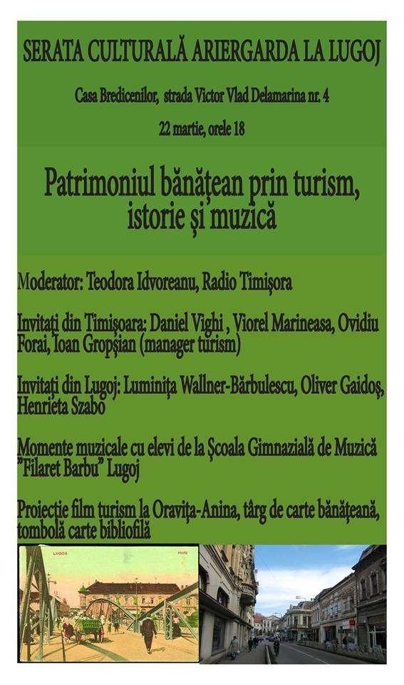 Lugoj Expres Serată culturală Ariergarda, la Lugoj: Patrimoniul bănățean prin turism, istorie și muzică turism cultural turism tombolă târg de carte serată culturală scriitori patrimoniul bănățean momente muzicale Lugoj istorie eveniment cultural Casa Bredicenilor Ariergarda la Lugoj Ariergarda