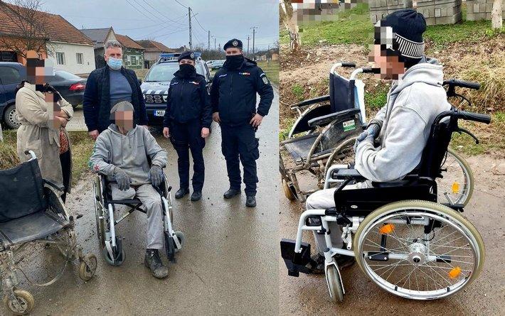 Lugoj Expres Jandarmii din Lugoj, surpriză neașteptată pentru un bărbat cu dizabilități fizice surpriză persoane cu dizabilități jandarmi Lugoj jandarmi IJJ Timiș Detașamentul 6 Jandarmi Lugoj cărucior cu rotile cadou inedit