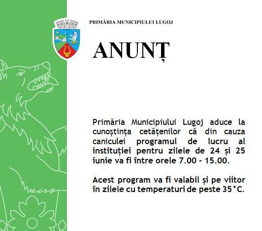 Lugoj Expres Primăria Lugoj, program de lucru modificat din cauza caniculei program de lucru Primăria Municipiului Lugoj Lugoj caniculă
