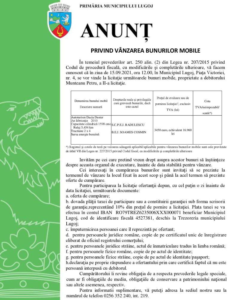 Lugoj Expres Primăria Municipiului Lugoj: Anunț privind vânzarea bunurilor mobile vânzare bunuri bobile vânzare Primăria Municipiului Lugoj Lugoj licitație debitor bunuri mobile