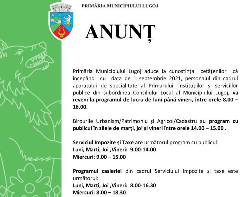 Lugoj Expres Primăria Municipiului Lugoj, nou program de lucru serviciul taxe și impozite programul casieriei program de lucru program cu publicul Primăria Municipiului Lugoj
