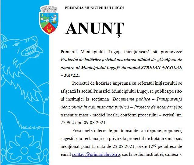 Lugoj Expres Primăria Municipiului Lugoj: Proiect de hotărâre privind acordarea titlului de Cetățean de Onoare titlu proiect primarul Nicolae-Pavel Streian municipiul Lugoj Lugoj hotărâre cetățean de onoare