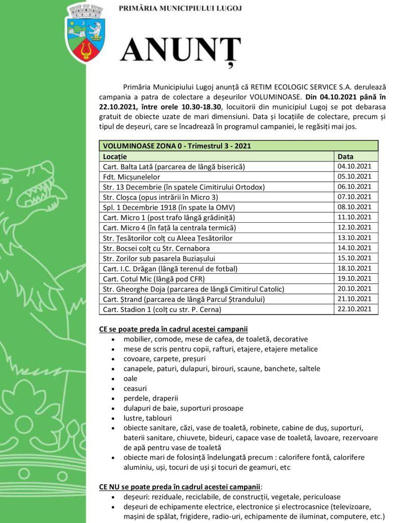 Lugoj Expres Campania a patra de colectare a deșeurilor voluminoase RETIM ECOLOGIC SERVICE Primăria Municipiului Lugoj Lugoj deșeuri voluminoase colectare deșeuri campanie