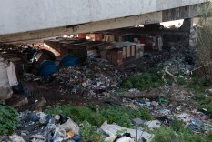 """Near Ponte Marconi. Rome has the biggest gypsy community. Many live in illegal camps. This nomads have built large """"villages"""" by the Tiber, expecially near Ponte Marconi, creating enormous rubbish tips."""