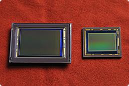 Un sensor FX junto a otro de tipo DX. Fotografía por cortesía de Nikon.