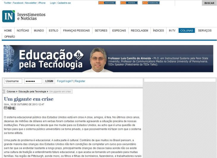 Photo of Dr. A Being Featured At The Investimentos e Noticias Newspaper.