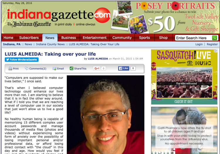 Sample Monthly Column at the Gazette