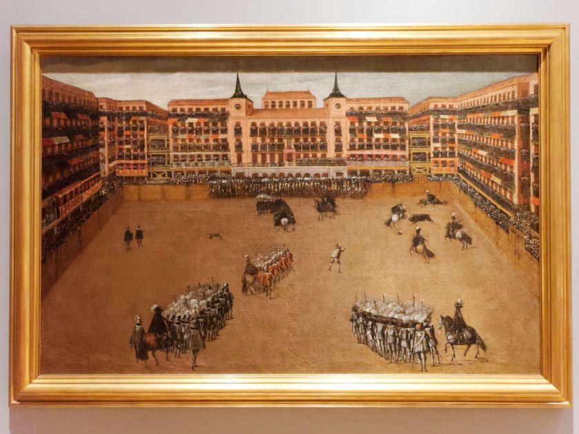 Pintura de óleo sobre lienzo en el Museo de Historia de Madrid. La Plaza Mayor de Madrid durante una fiesta de toros, 1664. Fotografía de Luis F. Roncero.
