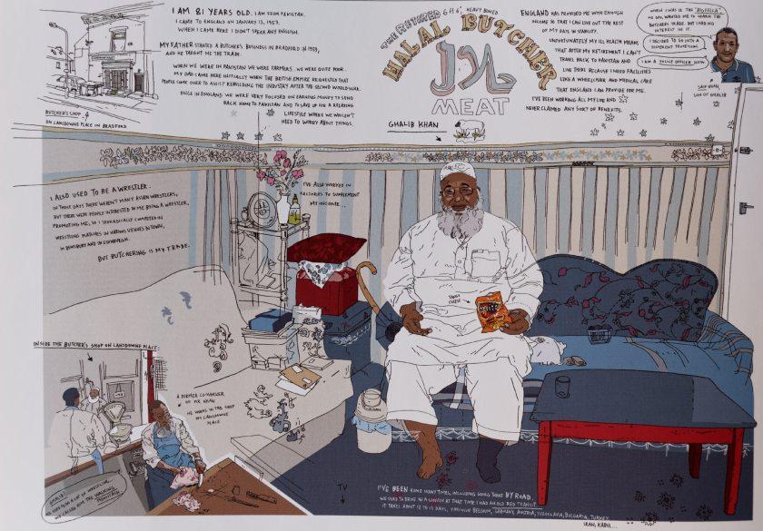 """Oliver Kugler - Halal butcher. Extraido del """"Atlas de la ilustración contemporánea"""" (Maomao Publications, en 2009)."""