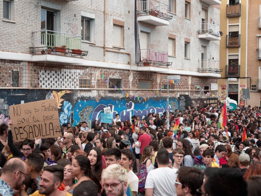Pancarta: NO SOY TU FANTASÍA,SOY TU PEOR PESADILLA. Manifestación del Orgullo Crítico en Madrid. Fotografía de Luis F. Roncero.