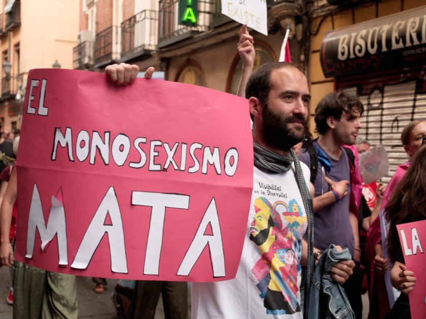 Pancarta MONOSEXISMO MATA. Manifestación del Orgullo Crítico en Madrid. Fotografía de Luis F. Roncero.