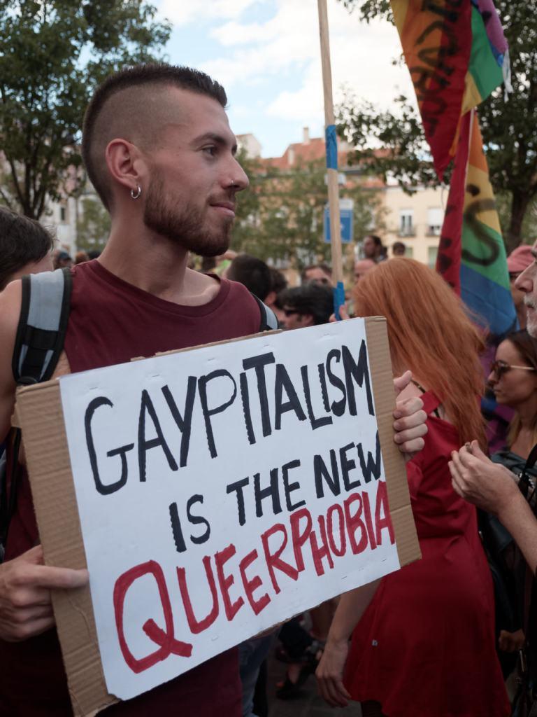 Pancarta contra el Gaypitalismo: GAYPITALISM IS THE NEW QUEERPHOBIA. Manifestación del Orgullo Crítico en Madrid. Fotografía de Luis F. Roncero.